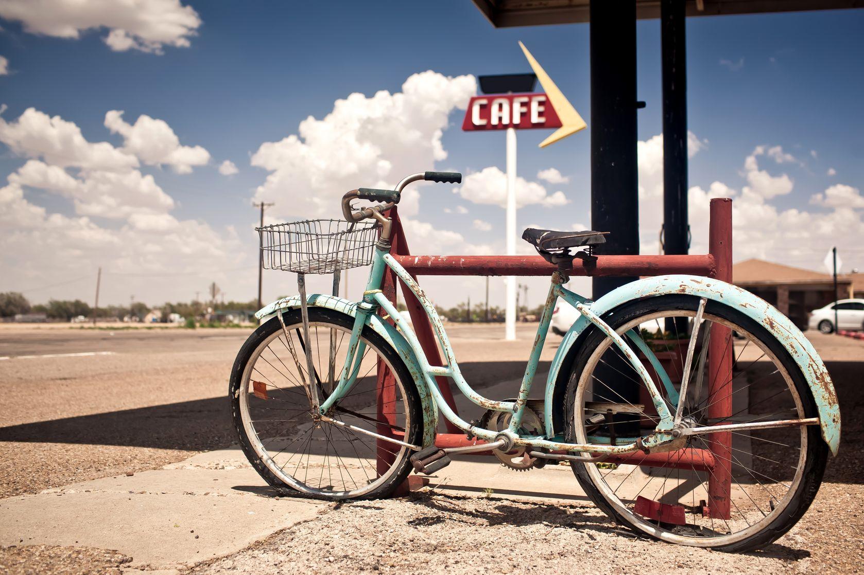 Aufkleber auf einem alten Fahrrad